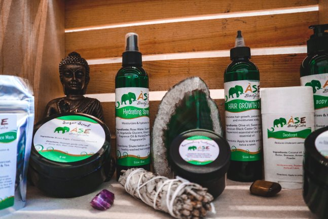 A collection of most of the Àse BodyCare Product line